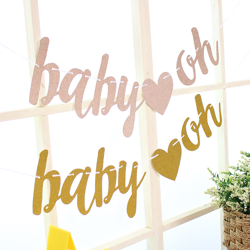 Oh Baby Letter Banner Glitter Garland Baby Shower Bunting