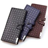 New Arrival Weave Pattern Buckle Wallet Leisure Fashion Men Long Wallets Hot Sale Attractive Men S