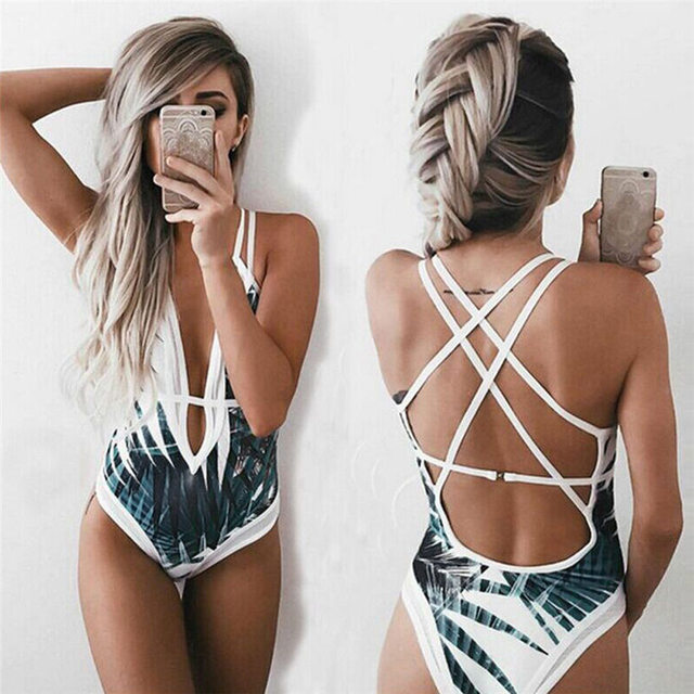a08e4d2cc2773 2018 Fashion Sexy Summer Women s One Piece Beach Swimsuit Swimwear Bathing  Monokini Push Up Padded Bikini Dropshipping