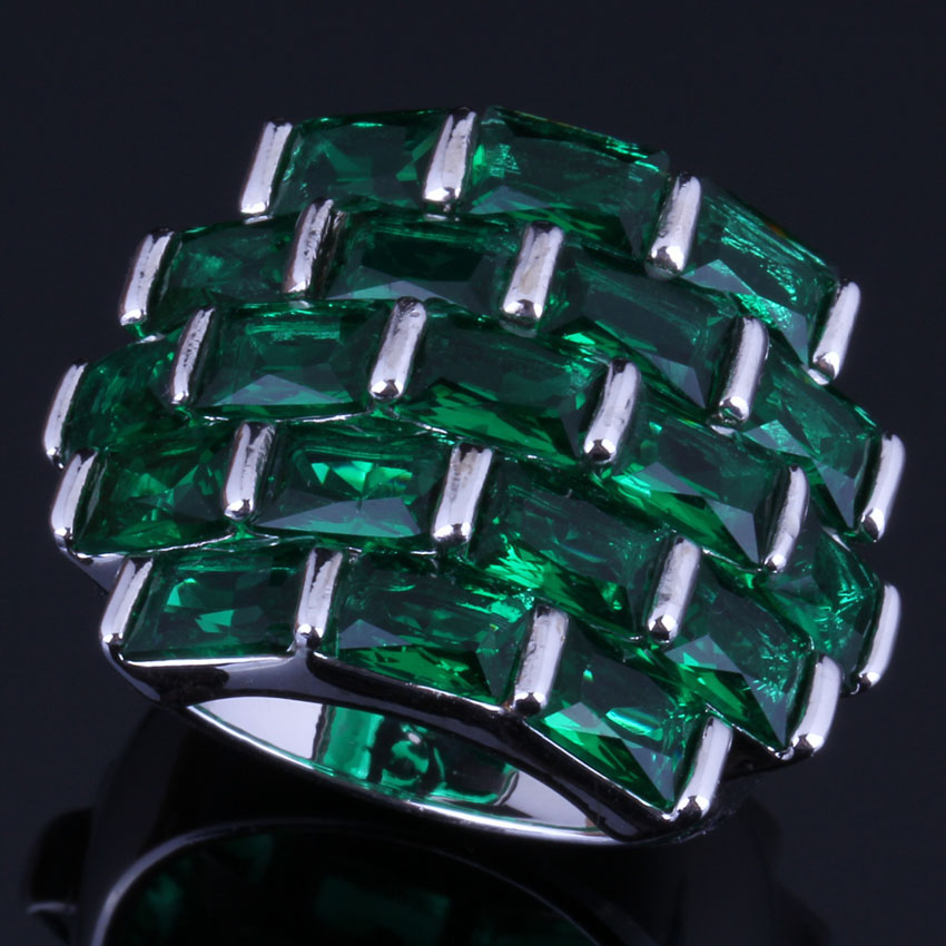 Magnificent Big Rectangle Green Cubic Zirconia 925 Sterling Silver Ring For Women V0536