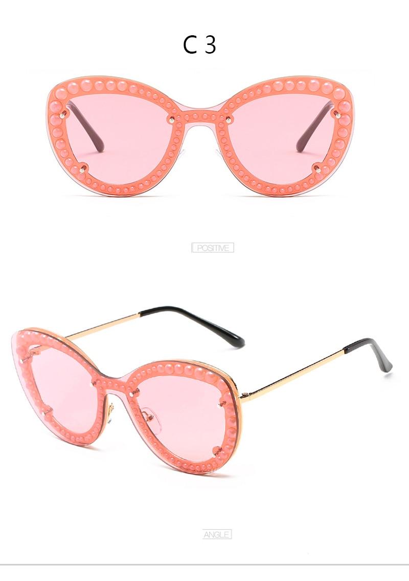 41412e259cf3ef ROSANNA Nouvelle Perle Femmes Mode Lunettes Cat Eye Marque Design Lunettes  de Soleil Femme Rétro Vintage Gafas Lunettes Nouvelle Oculos de Sol