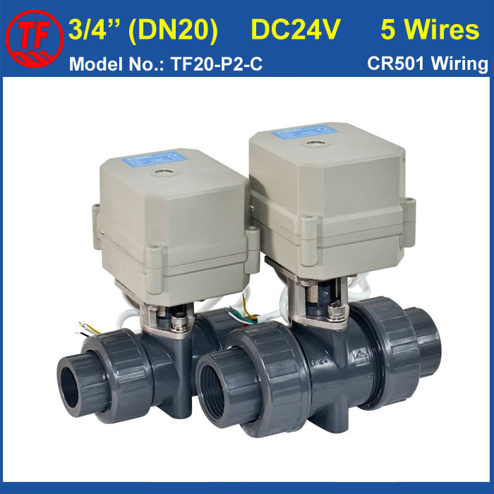 DC24V 5 Wires UPVC DN20 Motor Operated Valve BSP/NPT 3/4'' Electric Valve 10NM,On/Off 15 Sec,Metal Gear,CE, TF20-P2-C tf20 s2 c high quality electric shut off valve dc12v 2 wire 3 4 full bore stainless steel 304 electric water valve metal gear