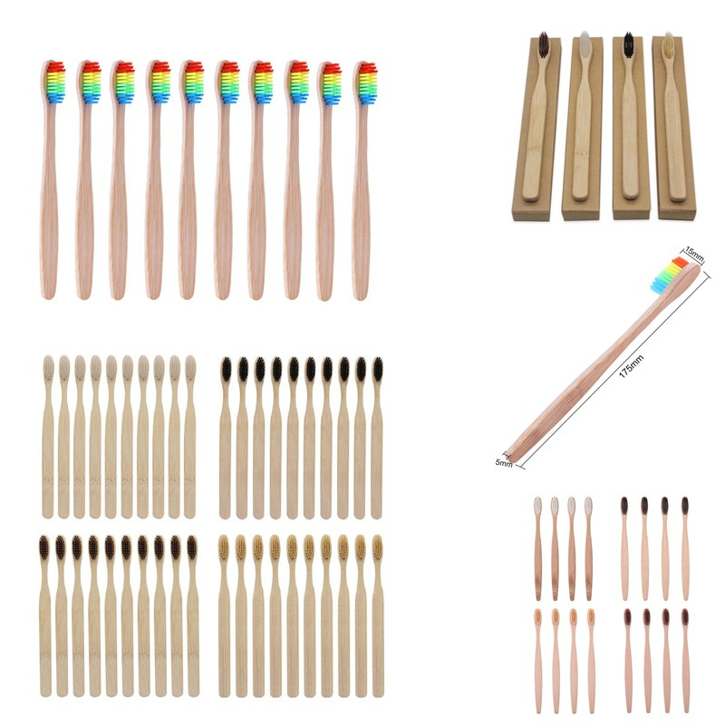 10/4pcs/Lot Wood Rainbow Toothbrush Bamboo Handle ToothBrush Soft Fibre Whitening Rainbow Wooden Handle Tooth Soft Brushes Set