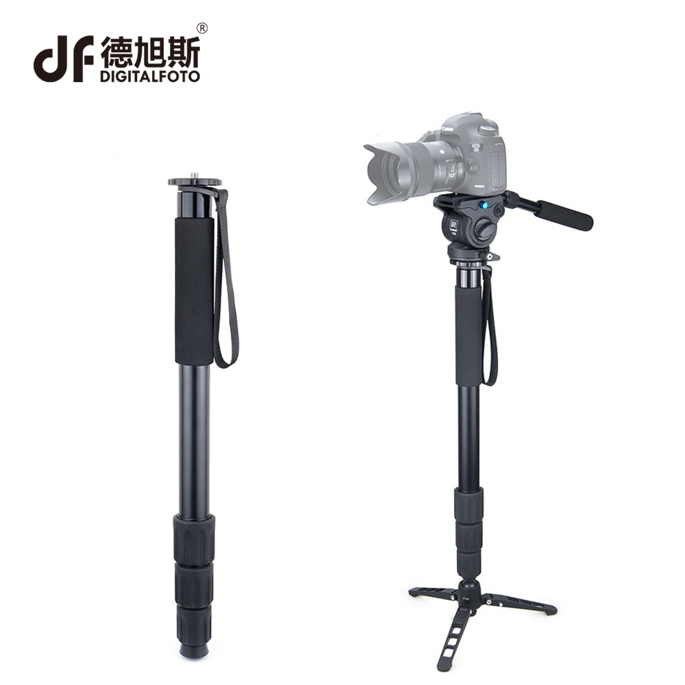DIGITALFOTO RM80 8KG bear Alloy professional portable camera monopod tripod compact DSLR stand for Canon Nikon with fluid head professional aluminium alloy tripod kit monopod for dslr camera five colors available light compact portable