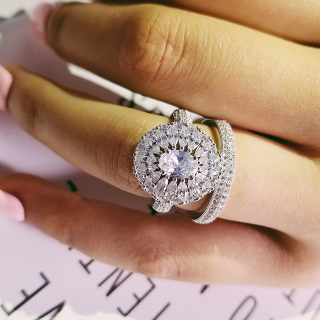 original marquise cut oval wedding ring set for women bride engagement Jewelry Band eternity gift R4868