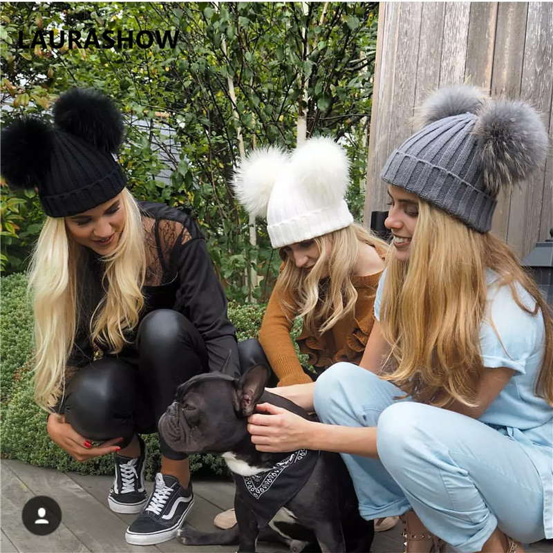 LAURASHOW Adult Winter Brand Cap 16cm Double Real Fur Ball Pom Poms Hat For Lady Hat Knitted Cap Hat Skullies Women Beanies