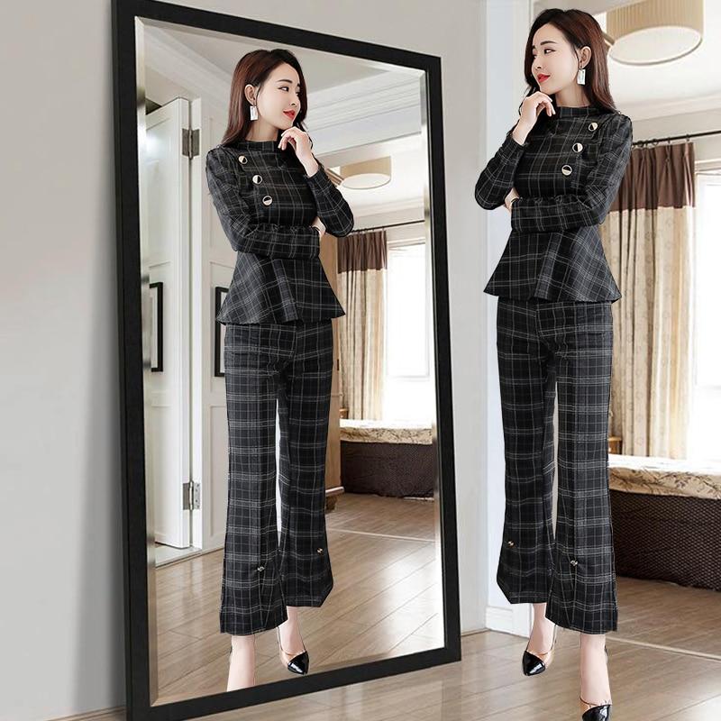 Ruches Arrivée Poitrine De Bureau Conception Unique Ensemble 2 Flare Mode Plaid Nouvelle 2019 Pièces Formelle Femelle striped Pantalon Costume Blouse Slim d6xqOdB5