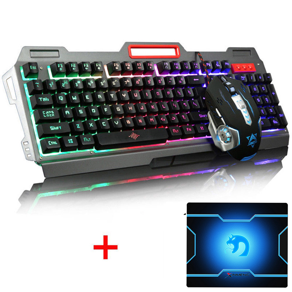 104 Keys K-38 Wired Rainbow LED Backlit Metal Ergonomic Usb Gaming Keyboard Mouse Combo + 3200DPI Optical Gamer Mouse + Mousepad