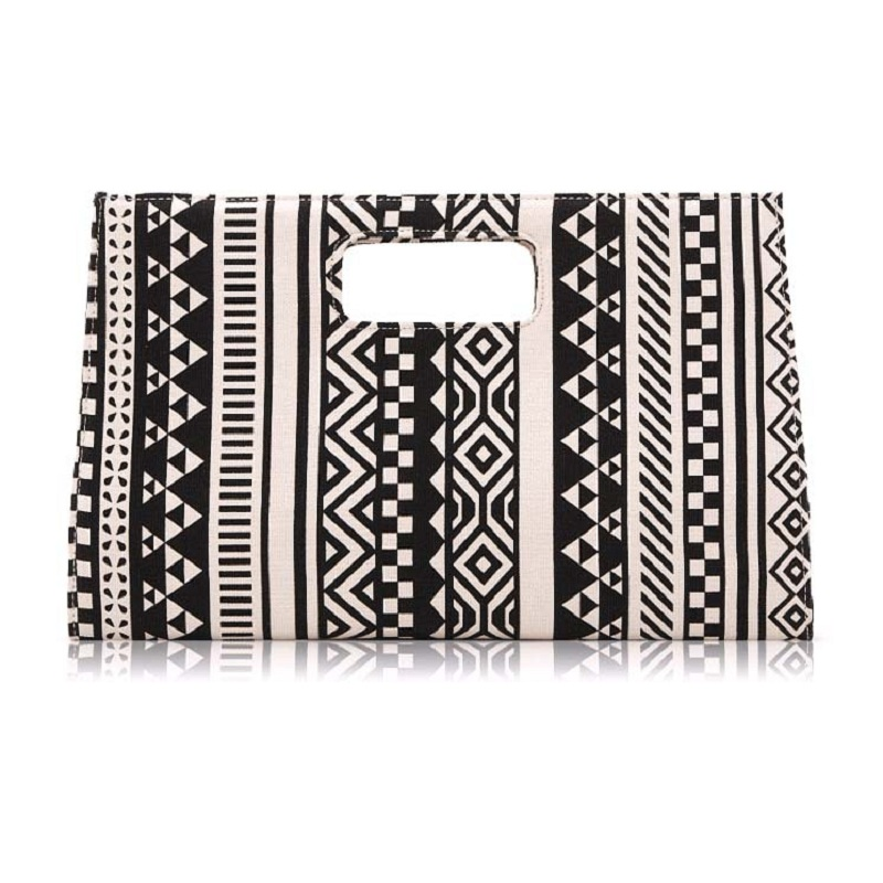 2018 Hot Sale Evening Bags Womens Handbag Canvas Black White Geometric Pattern Ladys Briefcase Day Clutches Party Bag Business