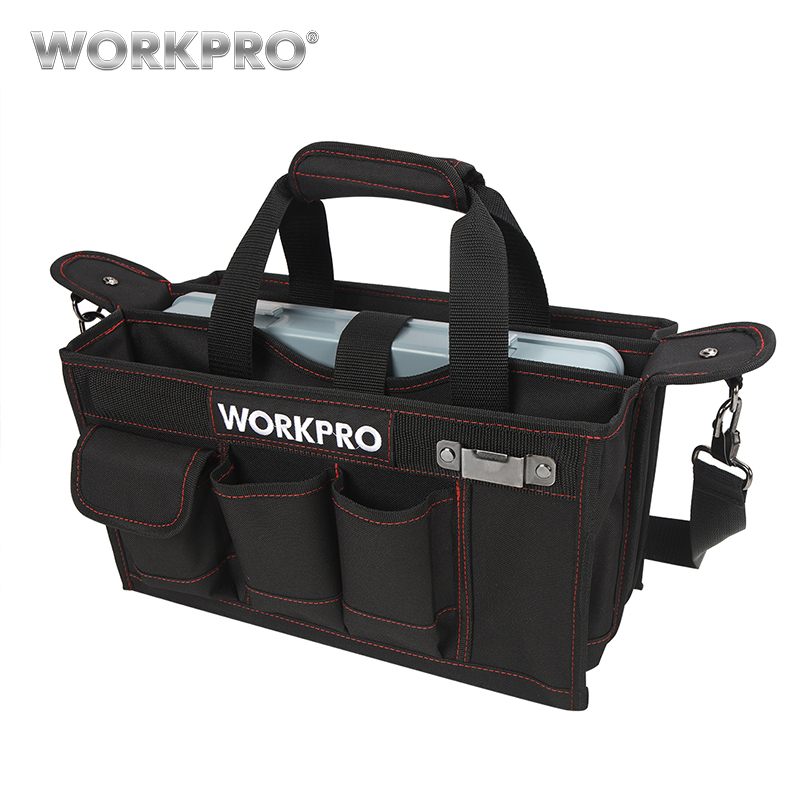 WORKPRO 600D Shoulder Tool Bag with Center Tray Waterproof Tool Kits Bags Pockets for Electrican Bags потолочная люстра аврора 10035 7c