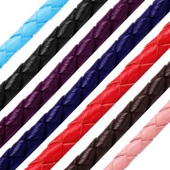 3mm okrągły pleciony pasek z prawdziwej skóry sznurek sznurkowy dla kobiet mężczyzn bransoletka ręcznie robiona biżuteria dokonywanie DIY ustalenia akcesoria naszyjnik tanie i dobre opinie EMBLAASK Genuine Leather 0 3cm 200cm Ocena biżuteria Sznury 0419 Skórzane Red Black Brown Blue White Pink Orange Sapphire Purple