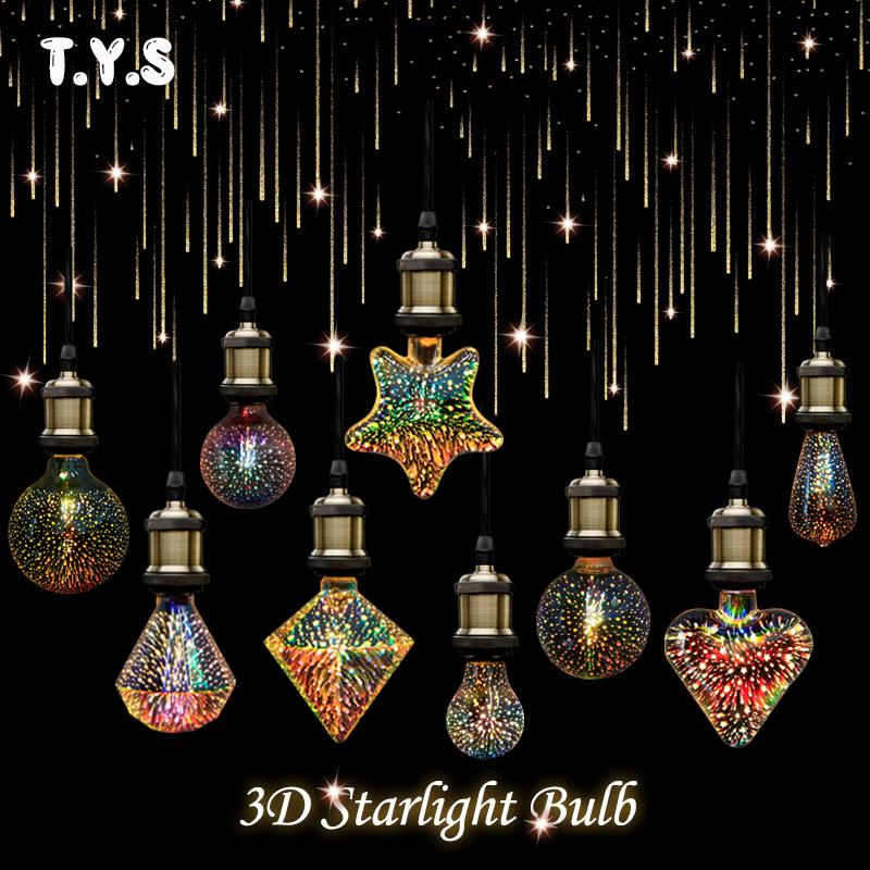 3D Star Heart Fireworks LED Lamp Edison Bulb E27 220V for Decor LED Lights Holiday Christmas Party Wedding Decoration Lighting