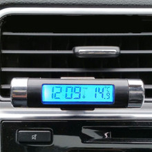 1Set Clip on Luminous BackLight Car Outlet Thermometer Clock LCD 2 In 1 font b Electronic
