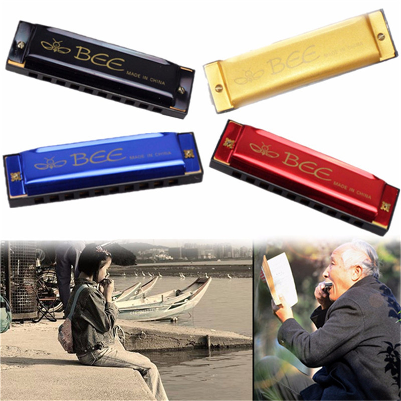 Best Quality 10 Holes 40 Tone C Key Harmonica Mouth Organ Harp For Musical Instrument Lover Kids Gift Toy Beginner Color Random