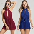 Rompers Womens Sleeveless Short Jumpsuit Backless Halter V-Neck Sexy Elegant Playsuit Summer Solid Drawstring Waist Overalls U2