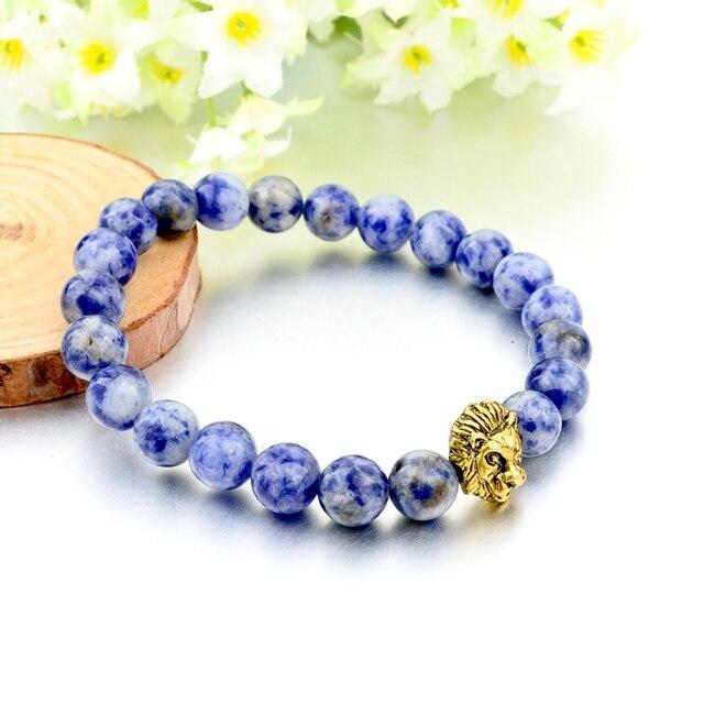 chicvie синий натуральный камень зернистый браслет с львом женские фотография