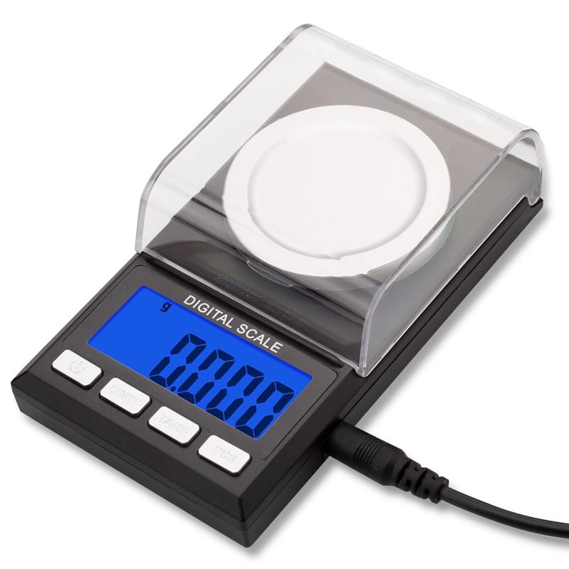 Precisão 50g/0.001g Digital Balança de Quilates Escalas Jóias Eletrônico Equilíbrio de peso Milligram lab uso Medicinal de Ouro USB alimentado