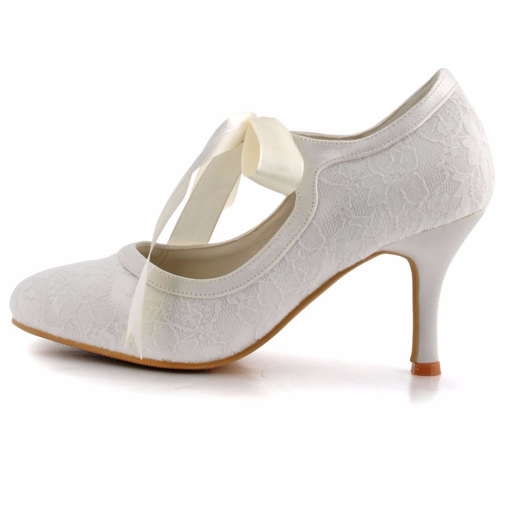Woman Ivory High Heel Closed Toe Mary Jane Ribbon Tie Lace Satin Pumps  Bride Lady Wedding Bridal Shoes A3039 3 White-in Women s Pumps from Shoes  on ... ef1dbf6646e5