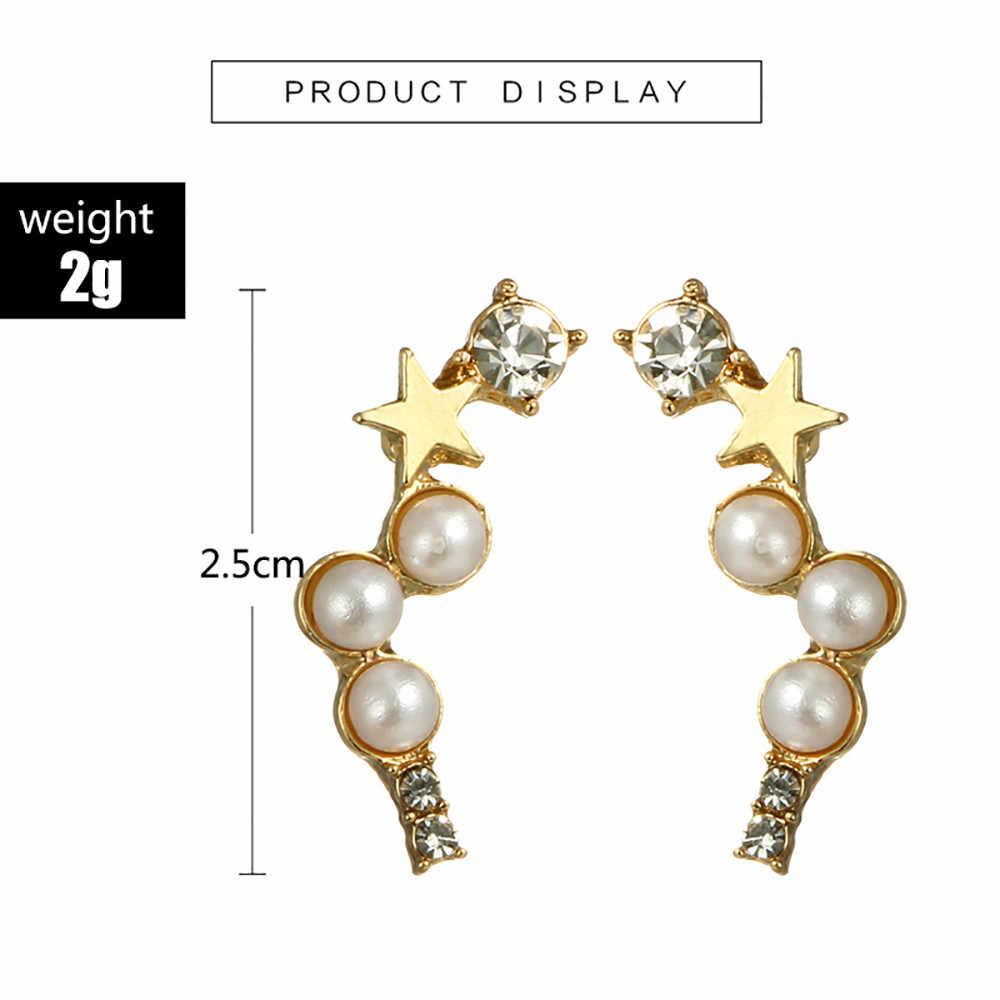 Женские Простые геометрические пятиконечные жемчужные серьги с необычными серьгами, красивая элегантность, роскошные серьги, подарок на Новый год