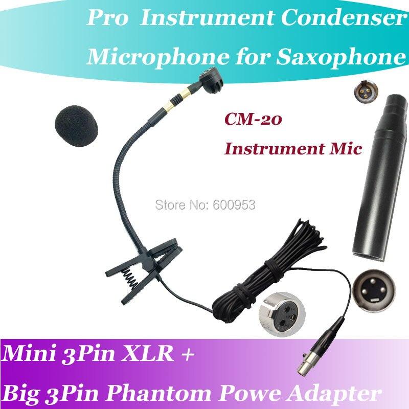 CM-20 Strumenti Professionali Microfono A Condensatore per Sassofono Orchestrale Vocale + Alimentazione Phantom XLR Grande Pin Adattatore