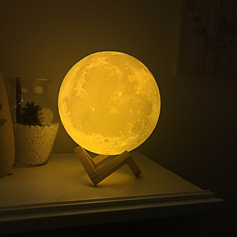 Moon Lamp Decoration Night Light 2 / 16 Colors By 3D Print For Decor Creative Gift Welcome Dropship