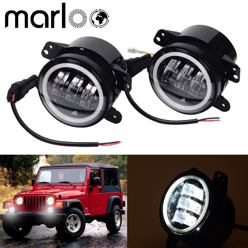 Marloo LED Fog Lights Front Bumper For Jeep Wrangler - With White Halo Rings Angel Eye LEDs - 4 Inch Wrangler Fog Lights