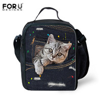 FORUDESIGNS Waterproof Cooler Insulated Lunch Bag For Children Jeans Cat Denim Printing Student Picnic Box Portable