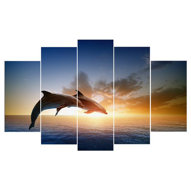 Canvas Painting Wall Art Printed Framed Home Decoration Fashion 5 Panels Animal Dolphin Modular Pictures For Living Room