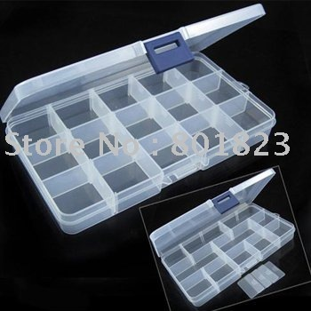 Free shipping,Portable jewelry box of 15 clear cell,PCS multi-functional travel storage box,storage box(color same as picture)