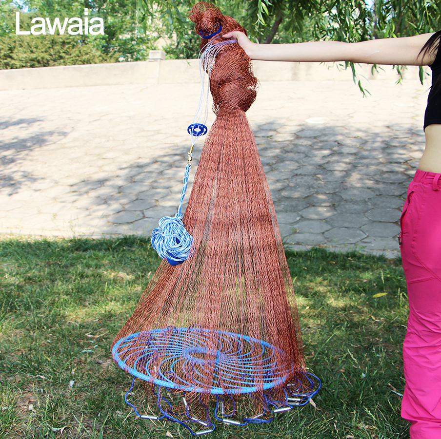Able Lawaia Old Salt Cast Net Throw Net Tire Line Rotary Fishing Network Diameter 3m-5.4m Hand Fishing Net Tool With Blue Ring Modern Design