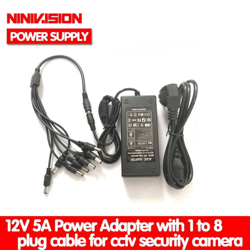 NINIVISION 12V 5A 8CH Power Supply CCTV Camera Power Box 8 Port DC+Pigtail COAT DC 12V Power Adapter