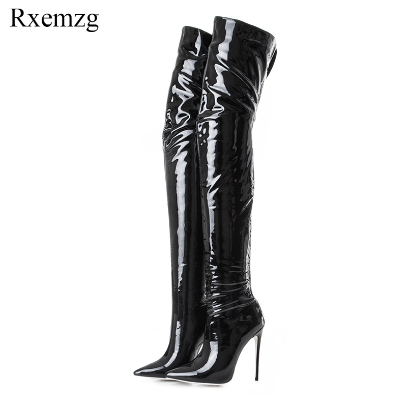 Rxemzg winter boots women zipper over the knee elastic boots sexy pointed toe stiletto high heels shoes woman plus size 33-43Rxemzg winter boots women zipper over the knee elastic boots sexy pointed toe stiletto high heels shoes woman plus size 33-43