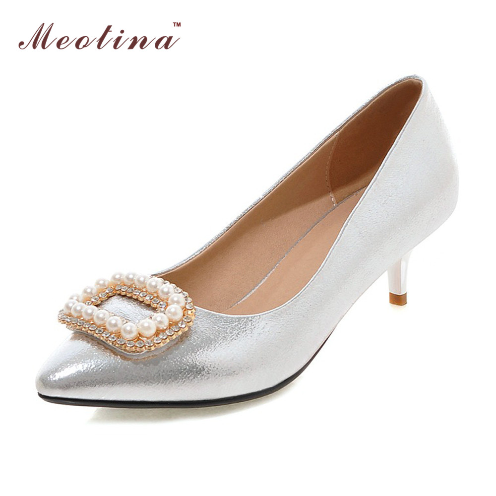 Meotina Women Shoes High Heels Bridal Shoes White Weeding Shoes Rhinestone Beading Pumps Party Heels Pink Sliver Large Size 9 10 new arrival sunburst l5 electric guitar full hollow body jazz guitar china f holes guitar custom available 3 pickups guitarra