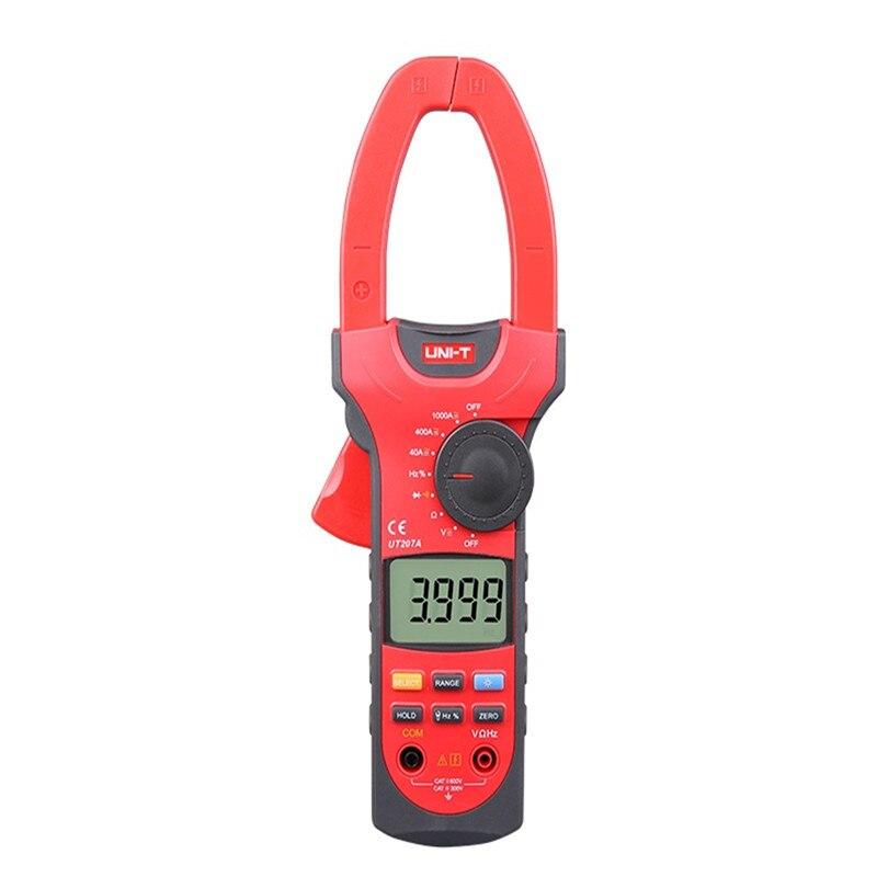 UNI-T UT207A 1000A Digital Clamp Meters True RMS Frequency Measure Multimeters Auto Range Capactance Resistance Frequency  uni t ut209a true rms professional auto manual range 4000 counts 1000a digital clamp multimeters