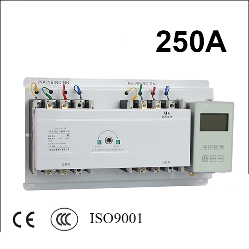 250A 3 poles 3 phase ats 220V/ 230V/380V/440V automatic transfer switch with English controller fast shipping 6 pins 5kw ats three phase 220v 380v gasoline generator controller automatic starting auto start stop function