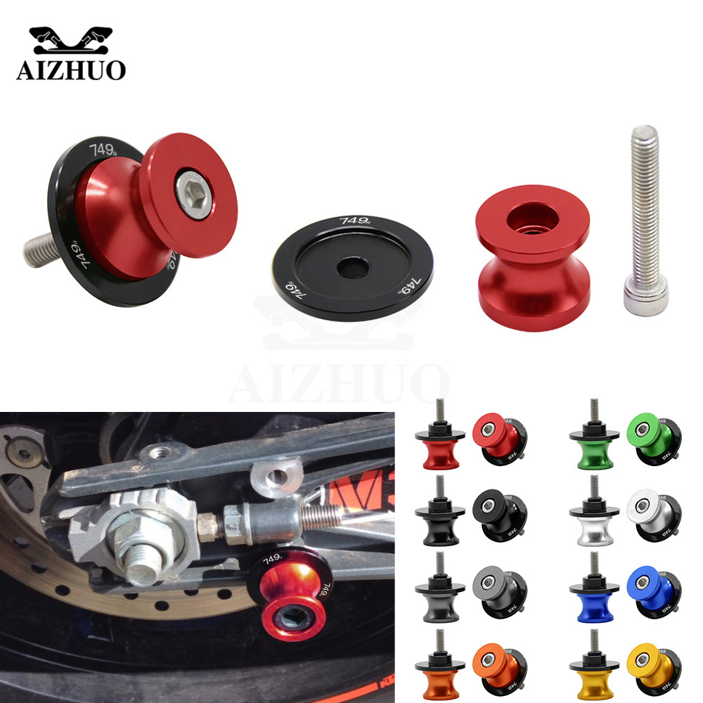 8MM Swingarm Sliders Motorcycle Accessories Spools Stand Screws Slider With 749 R Logo For DUCATI 749 R 749R 2004 2005 2006
