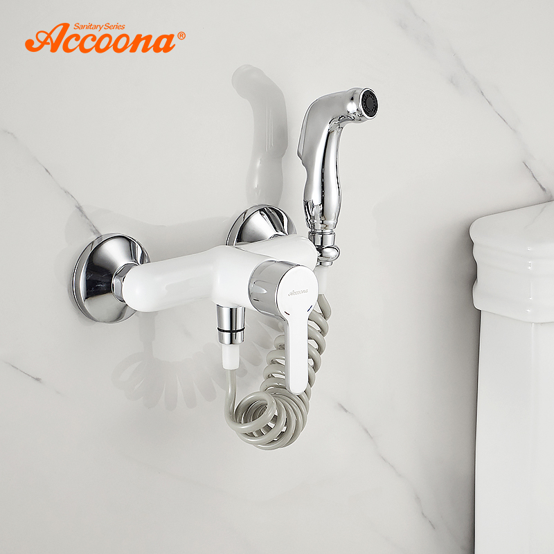 Accoona Bidets Faucet White Toilet Cleaner Set Shower Spray Bidet Sprayer Toilet Faucets Wall Mounted Shower Bidets A3167G