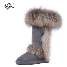 Top New Fashion Natural Fox Fur Genuine Sheepskin Leather Snow Boots High Quality Waterproof Botas Mujer Winter Shoes For Women
