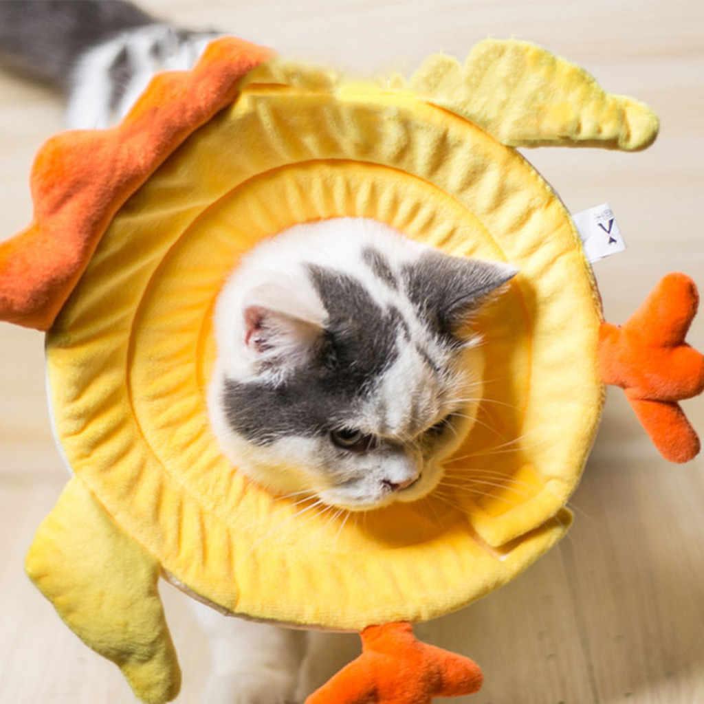 調節可能な襟犬猫ペットひよこプリントネックサークル抗一口創傷治癒リング形状犬猫首輪ペット用品ホット