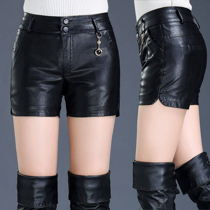 2019 Spring Autumn Female Shorts Slim Leather Skinny High Waist Shorts Boots Women PU Cool Shorts Outside Wear