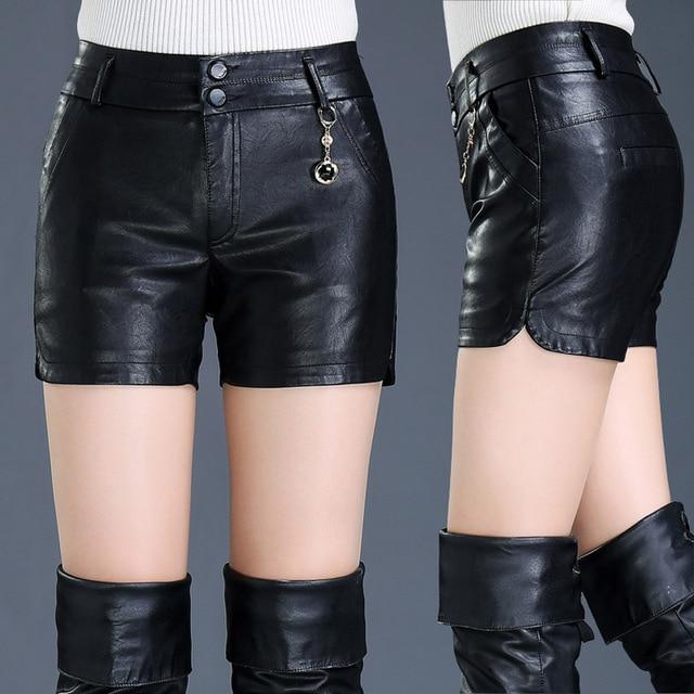 2019 Spring Autumn Female Shorts Slim Leather Skinny High Waist Shorts Boots Women PU Cool Shorts Outside Wear