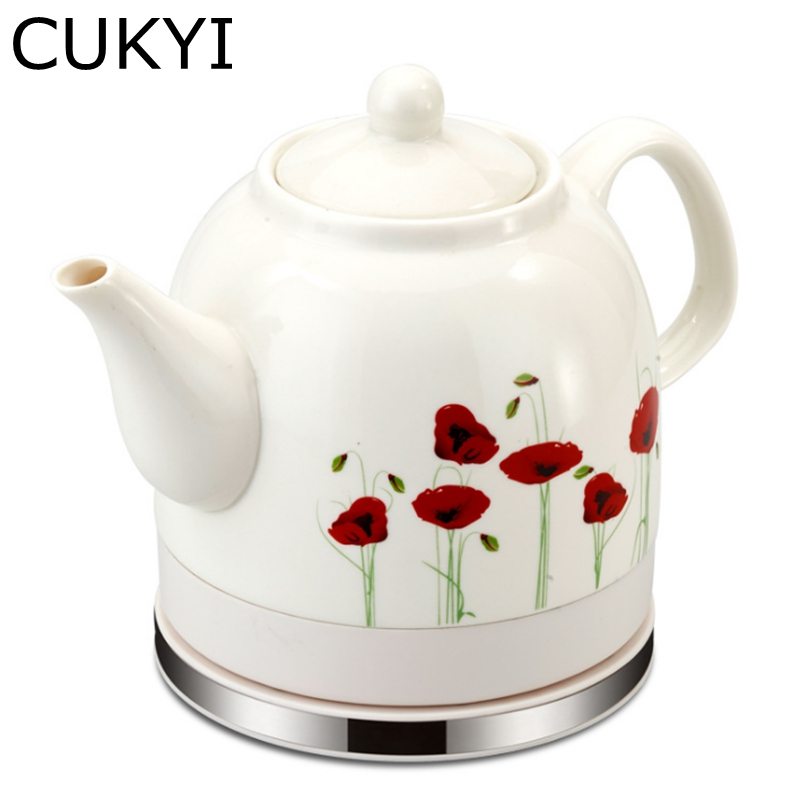 CUKYI 1.2L Electric Ceramic Tea Kettle with detachable base and boil dry protection kicthen tools Household health cukyi seven ring household electric taolu shaped anti electromagnetic ultra thin desktop light waves