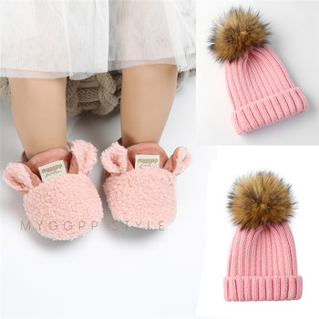 Deleba Winter 0-18 Newborn Baby Shoes & Baby Hat Sets Cotton Fluff Crib Shoes Winter  Soft Sole Toddler Baby Products цена 2017