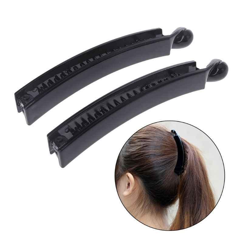 2 חתיכות 10 cm בננה שיער קליפים שחור כיכר ראש פלסטיק Barrette קוקו מחזיק