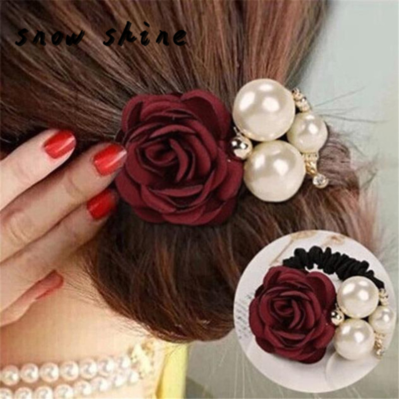 snowshine YLIWWomen Satin Ribbon Rose Flower Pearls Hairband Ponytail Holder Hair Band free shipping *cydj