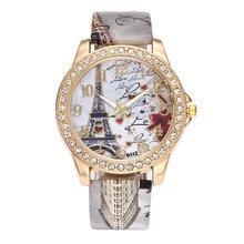 f47e8d4c358 Duobla relógio mulheres relógios de luxo do vintage paris torre eiffel moda  cristal couro quartzo relógio pulso relogio feminino.