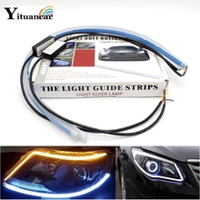 цены Yituancar 2Pcs/Set 30/45/60CM LED Daytime Running Light Yellow Flowing Turn Signal Soft Article Guide Strip Styling Car Day Lamp