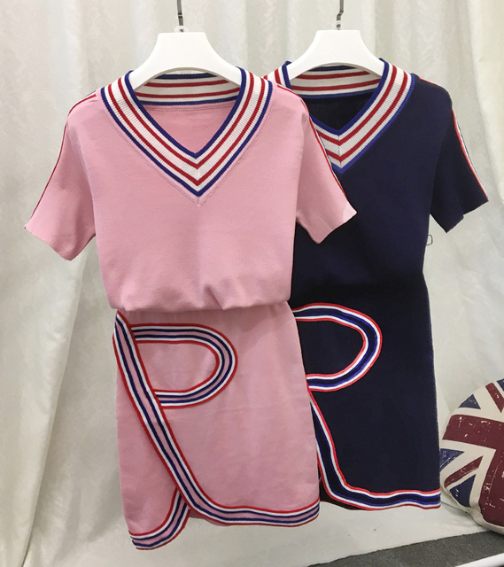 Knitted Asymmetric Skirt Sets Summer Style Women Short-sleeved Knitting Sporty Top and Skirt Casual Suits Pink Blue  JN860