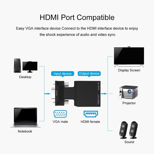 Konwerter VGA na adapter HDMI kobiecy męski z moc dźwięku wspornik adaptera 1080P sygnał VGA na HDMI Audio 5V złącze dc