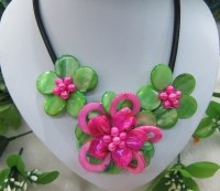 Hot Pink and green Mop shell flower necklace Leather wrap choker